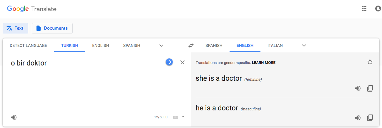 Gender bias in machine translation
