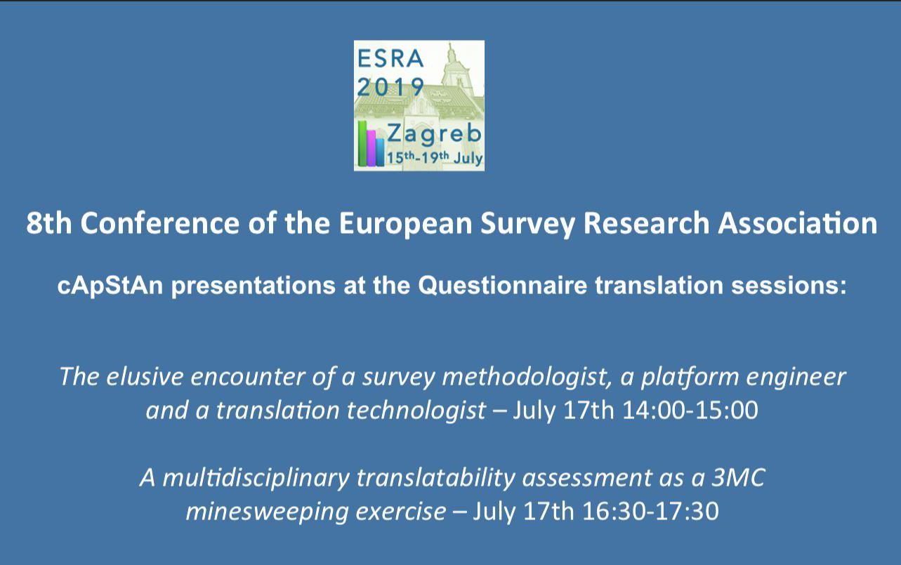Meet us at ESRA 2019 at the Questionnaire translation sessions on Wednesday 17 July