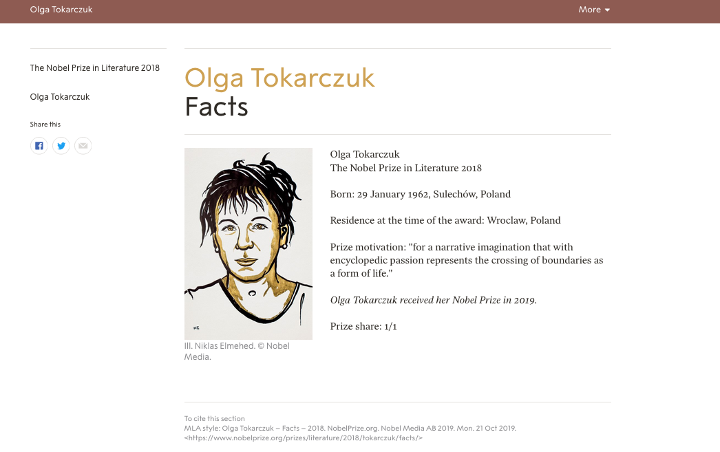 Would Olga Tokarczuk have won the Nobel prize if she had not been translated into English?