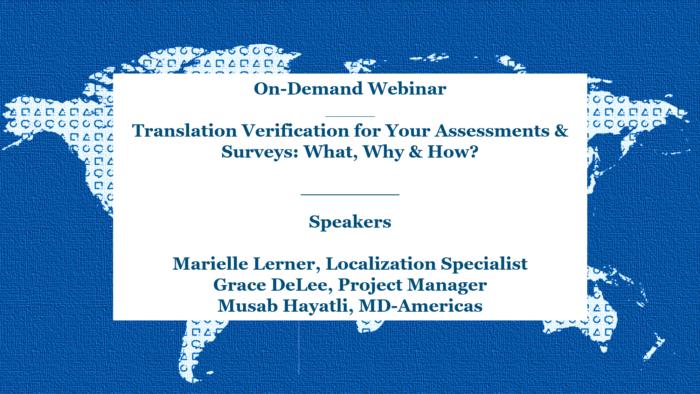 Translation Verification for Your Assessments & Surveys
