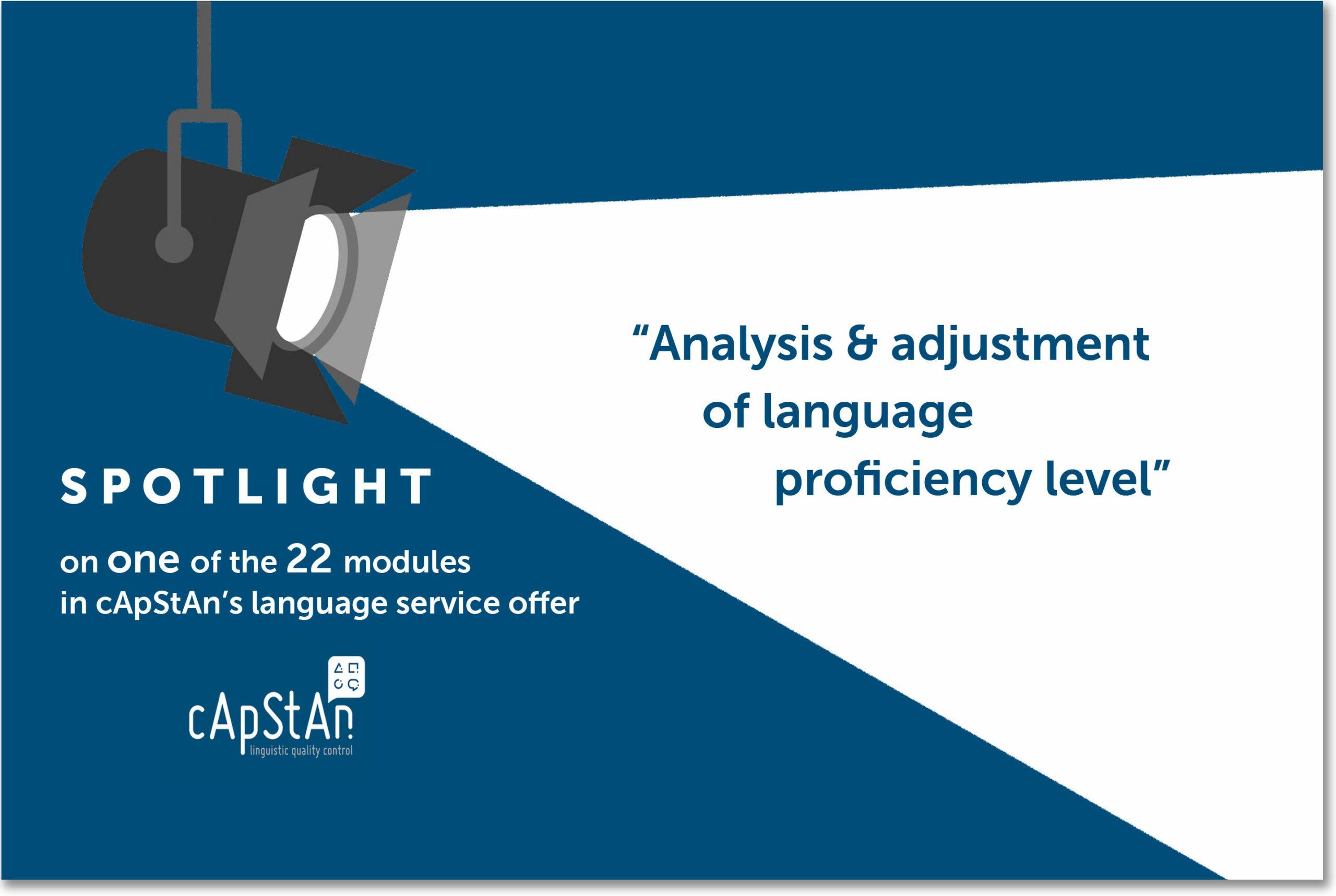 Consultancy Services – Analysis & Adjustment of Language Proficiency Level